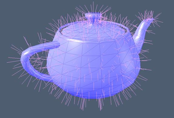 Ejemplo de normales de un modelo 3D